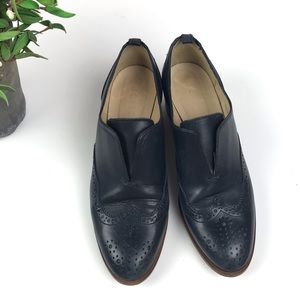 J. Crew Slip On Navy Blue Leather Oxford Shoes